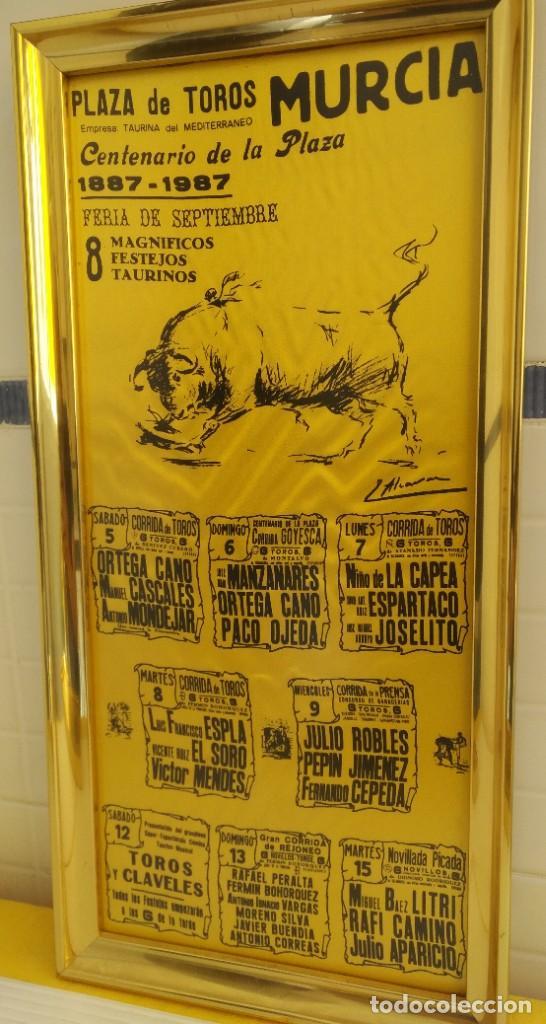 Carteles Toros: CARTEL DE SEDA CENTENARIO PLAZA DE TOROS DE MURCIA - Foto 3 - 198604777