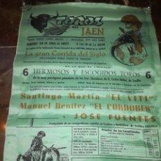 Carteles Toros: CARTEL EN SEDA O SIMIL PLAZA DE JAÉN EL CORDOBÉS. Lote 198648225