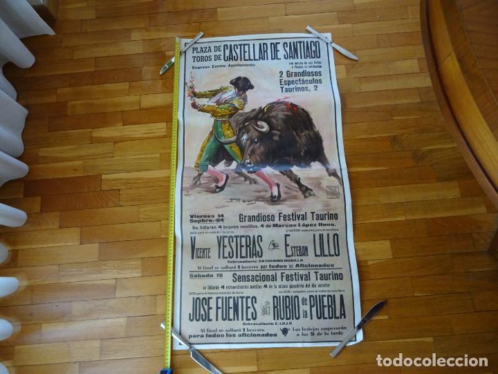 AÑOS 1970. CARTEL TOROS GRANDE. CASTELLAR DE SANTIAGO. CIUDAD REAL (Coleccionismo - Carteles Gran Formato - Carteles Toros)