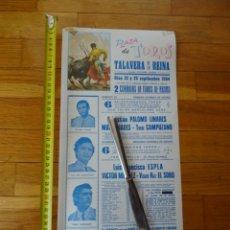 Carteles Toros: 1984. CARTEL TOROS TALAVERA DE LA REINA.LINARES MANZANARES ESPLA SORO. Lote 198779878
