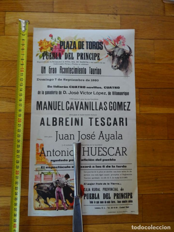 AÑO 1980.CARTEL TOROS PUEBLA DEL PRINCIPE, CIUDAD REAL (Coleccionismo - Carteles Gran Formato - Carteles Toros)