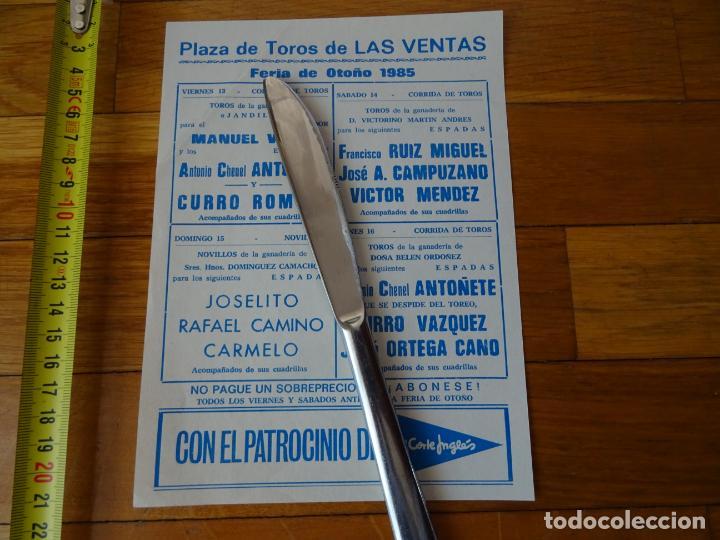 Carteles Toros: año 1985, feria otoño madrid, despedida de antoñete, cartel toros, programa - Foto 2 - 198782422