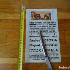 Carteles Toros: AÑO 1980. PLAZA TOROS TORRENUEVA, CIUDAD REAL. Lote 198782895