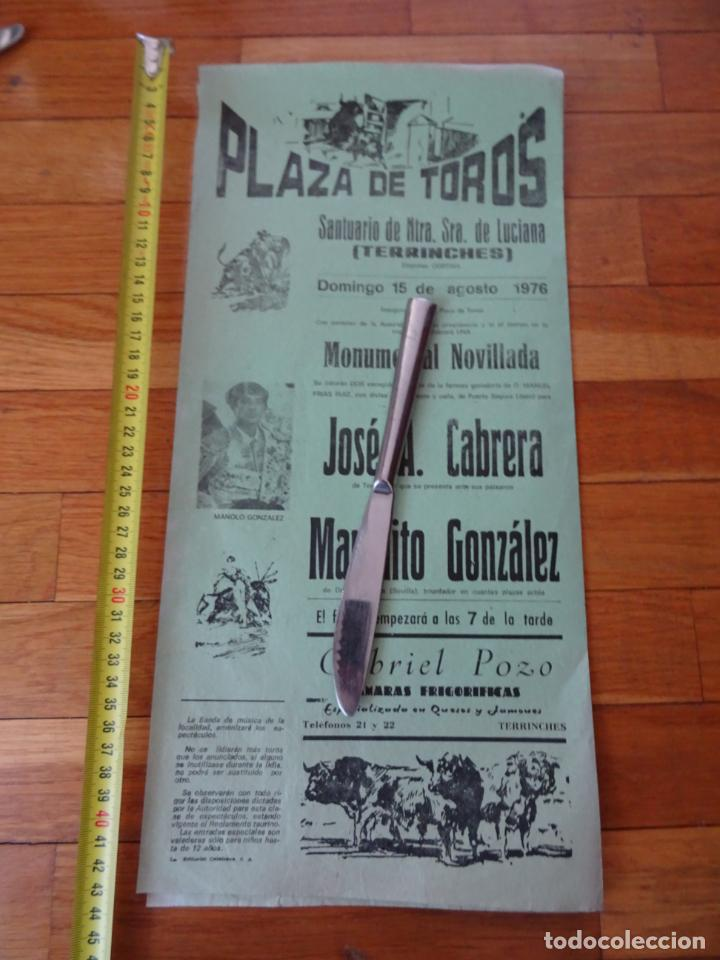 AÑO 1976, CARTEL TOROS SANTUARIO SEÑORA LUCIANA, TERRINCHES, CIUDAD REAL (Coleccionismo - Carteles Gran Formato - Carteles Toros)