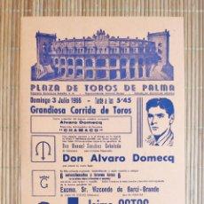 Carteles Toros: CARTEL PLAZA TOROS PALMA DE MALLORCA 3 JULIO 1966, JAIME OSTOS - A.B. CHAMACO - FERMIN MURILLO. Lote 199861248