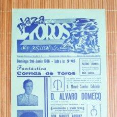 Carteles Toros: CARTEL PLAZA TOROS PALMA DE MALLORCA 26 JUNIO 1966, RAUL GARCIA - MANOLO BLAZQUEZ - PALOMO LINARES. Lote 199861507