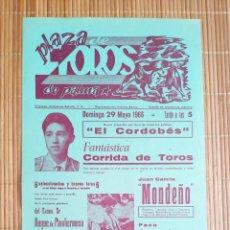 Carteles Toros: CARTEL PLAZA TOROS PALMA DE MALLORCA 29 MAYO 1966, J GARCIA MONDEÑO - PACO CAMINO - M.B. EL CORDOBES. Lote 199863050