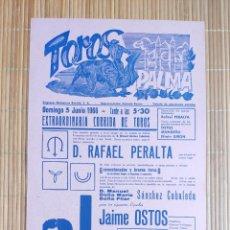 Carteles Toros: CARTEL PLAZA TOROS PALMA DE MALLORCA 5 JUNIO 1966, J GARCIA MONDEÑO - JAIME OSTOS - EFRAIN GIRON. Lote 199863280