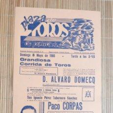 Carteles Toros: CARTEL PLAZA TOROS PALMA DE MALLORCA 8 MAYO 1966, PACO CORPAS - EFRAIN GIRON - R. CONTRERAS FINITO. Lote 199863432