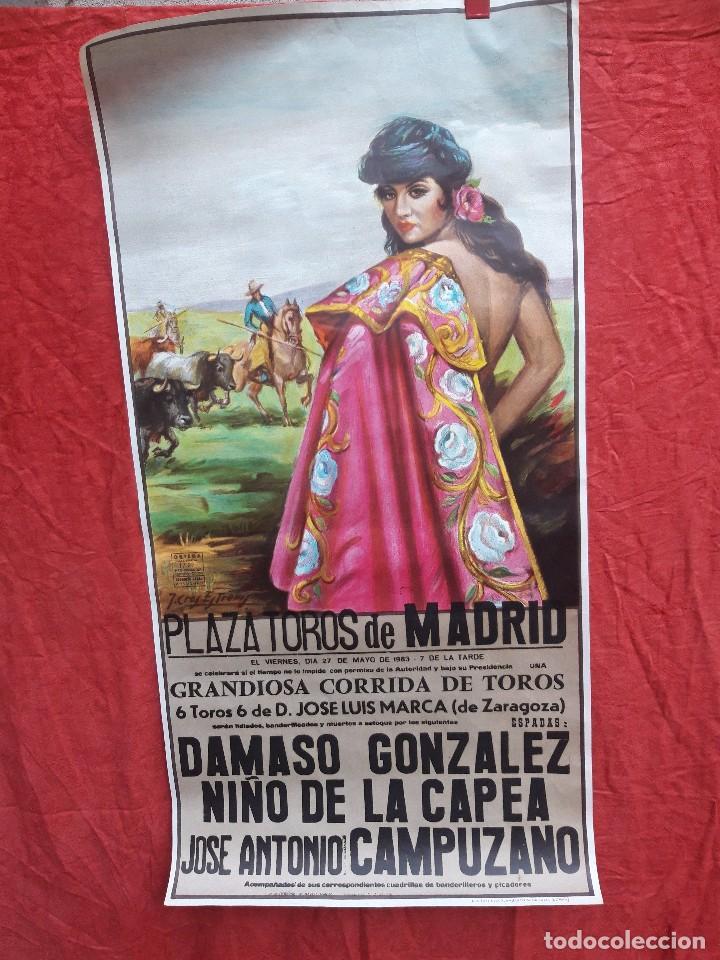 CARTEL PLAZA DE TOROS DE MADRID, 1983. DAMASO GONZALEZ, NIÑO DE LA CAPEA, JOSE A. CAMPUZANO (Coleccionismo - Carteles Gran Formato - Carteles Toros)