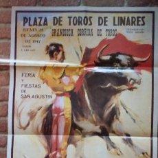 Carteles Toros: BONITA REPRODUCCION CARTEL DIA DE LA MUERTE DE MANOLETE PLAZA DE TOROS DE LINARES JAEN 194. Lote 200264786