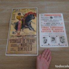 Carteles Toros: LOTE 2 CARTEL DE TOROS, UNO ES EL DE LA MUERTE DE MANOLETE HECHO EN 1961, BARCELONA Y LINARES.. Lote 201967482