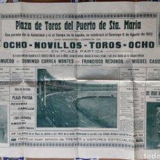 Carteles Toros: ANTIGUO CARTEL PLAZA DE TOROS DEL PUERTO DE SANTA MARIA 1922. Lote 202397916