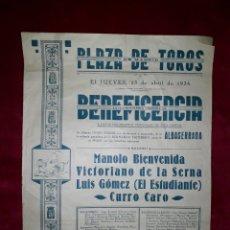 Cartazes Touros: CARTEL DE TOROS DE LA BENEFICENCIA MADRID 1936. Lote 202977201
