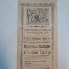 Cartazes Touros: CARTEL DE TOROS DE BARCELONA 1898. Lote 204079268