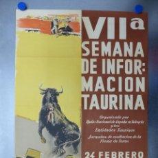 Carteles Toros: CARTEL VALENCIA, VII SEMANA DE INFORMACION TAURINA - AÑO 1963 - LITOGRAFIA. Lote 204082063