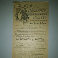 Cartazes Touros: CARTEL DE TOROS DE ALICANTE 1912. Lote 204475705