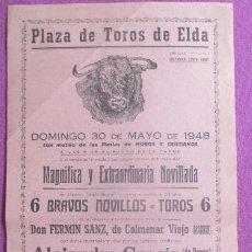 Cartazes Touros: CARTEL TOROS PLAZA TOROS ELDA ALICANTE 1948 ALEJANDRO GARCIA MONTILLA MANOLO CARMONA CT503. Lote 204649940
