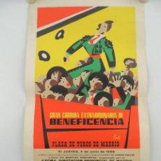 Cartazes Touros: CARTEL PLAZA DE TOROS DE MADRID GRAN CORIDA EXTRAORDINARIA DE BENEFICENCIA JUNIO 1959. Lote 204689207