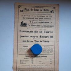 Carteles Toros: CARTEL DE TOROS DE MELILLA 1926. Lote 205576515