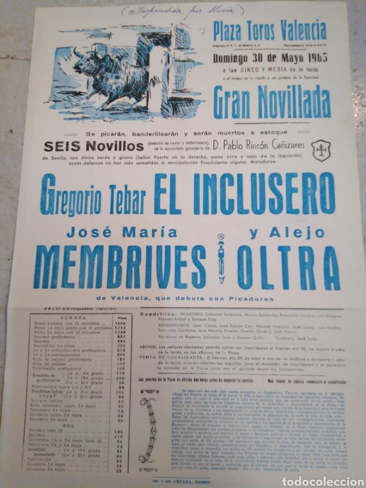 PLAZA DE TOROS DE VALENCIA-30/5/65-GRAN NOVILLADA, 6 NOVILLOS PABLO RINCÓN CAÑIZARES,32X22 (Coleccionismo - Carteles Gran Formato - Carteles Toros)