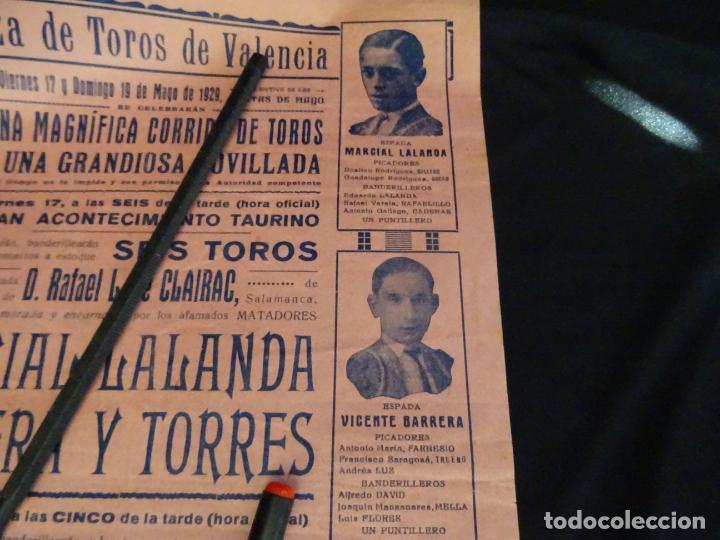 Carteles Toros: año 1929.Cartel toros plaza Valencia. - Foto 2 - 206219921
