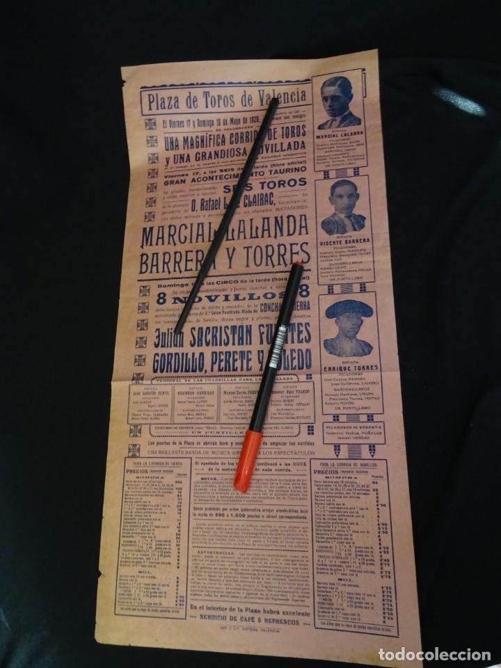 AÑO 1929.CARTEL TOROS PLAZA VALENCIA. (Coleccionismo - Carteles Gran Formato - Carteles Toros)
