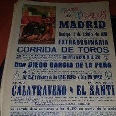 Affissi Tauromachia: CARTEL PLAZA TOROS MADRID, CALATRAVEÑO, EL SANTI,1980, 43 X 20 CM. Lote 207180790