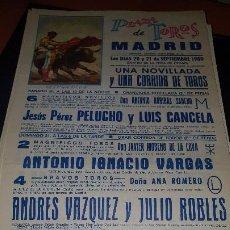 Affissi Tauromachia: CARTEL PLAZA TOROS MADRID, A. VAZQUEZ, J. ROBLES,1980, 43 X 20 CM. Lote 207182901
