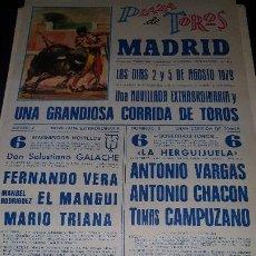 Carteles Toros: CARTEL PLAZA TOROS MADRID, A. VARGAS, A. CHACON, T. CAMPUZANO, 1979, 42 X 20 CM. Lote 207191560