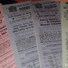 Carteles Toros: LOTE DE 100 CARTELES PLAZA TOROS DE MADRID, CORRIDAS DE NOVILLOS, EN PAPEL, MAYORIA AÑOS 60. Lote 207195342