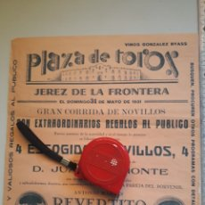 Carteles Toros: CARTEL DE TOROS DE JEREZ DE LA FRONTERA 1931 CÁDIZ. Lote 207312518