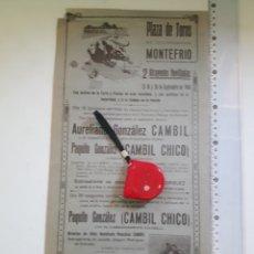 Carteles Toros: CARTEL DE TOROS DE MONTEFRIO 1940. Lote 207370428
