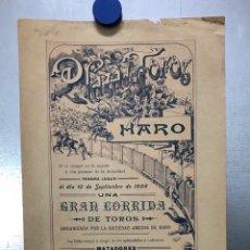 Carteles Toros: CARTEL TOROS - HARO (LOGROÑO) - AÑO 1908 - ILUSTRADOR: D. PEREA, TOREROS: GORDITO, RECAJO. Lote 207939190