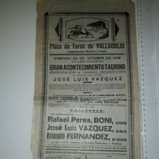 Carteles Toros: VALLADOLID 1938 PRESENTACION DE JOSÉ LUIS VÁZQUEZ. Lote 208065611