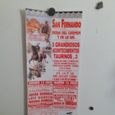 Carteles Toros: CARTEL DE LA PLAZA DE TOROS DE SAN FERNANDO, AÑO 1996. Lote 209121105