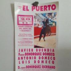 Carteles Toros: CARTEL DEL PUERTO DE SANTA MARÍA, AÑO 1992,,CORRIDA ARTE DEL REJONEO. Lote 209122246