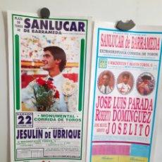 Carteles Toros: DOS CARTELES DE LA PLAZA DE SANLUCAR DE BARRAMEDA, AÑOS 89Y94. Lote 209125366