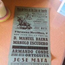 Carteles Toros: CARTEL DE TOROS. TENERIFE 1962. JOSE MATA,ORTEGUITA. Lote 209638928