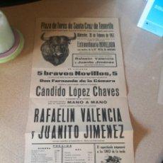 Carteles Toros: PLAZA DE TOROS TENERIFE 1963. RAFAELIN VALENCIA Y JUANITO JIMENEZ. Lote 209639135