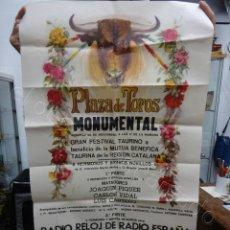 Carteles Toros: CARTEL PLAZA TOROS MONUMENTAL. BARCELONA 1970. 100 X 53 CTMS. FESTIVAL BENÉFICO REGION CATALANA. Lote 210014615