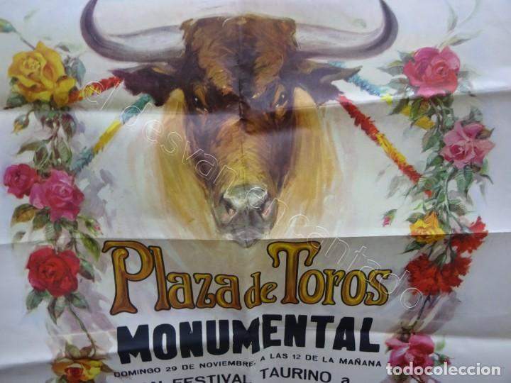 Carteles Toros: Cartel Plaza Toros Monumental. Barcelona 1970. 100 x 53 ctms. Festival benéfico REGION CATALANA - Foto 2 - 210014615