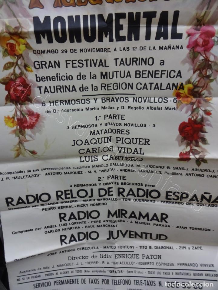Carteles Toros: Cartel Plaza Toros Monumental. Barcelona 1970. 100 x 53 ctms. Festival benéfico REGION CATALANA - Foto 3 - 210014615