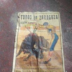 Carteles Toros: CARTEL TOROS ZARAGOZA GRAN TAMAÑO. Lote 210733394