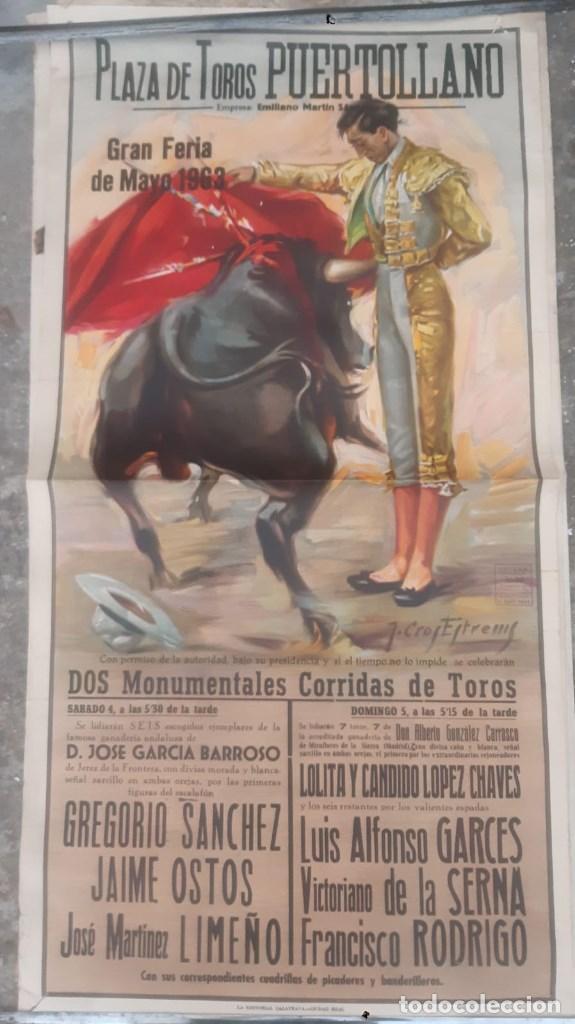 CARTEL DE TOROS ANTIGUO PLAZA DE PUERTOLLANO GRAN FERIA DE MAYO DE 1963 GREGORIO SANCHEZ JAIME OSTOS (Coleccionismo - Carteles Gran Formato - Carteles Toros)