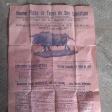 Cartazes Touros: CARTEL TOROS ANTIGUO NUEVA PLAZA DE SAN SEBASTIAN 1930 VICTORIANO ROGER 44 CMS. ALTO X 20 DE LARGO. Lote 211259762