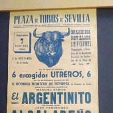 Carteles Toros: CARTEL DE TOROS - 1960 - PLAZA DE TOROS DE SEVILLA- EL ARGENTINITO-EL ALCALAREÑO-JOSEM. CORONA43X20. Lote 211471306