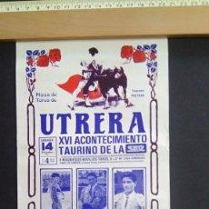 Carteles Toros: CARTEL DE TOROS - 1987 - PLAZA UTREA - CORONA-ZARATE-PUNTA-31.1/2X14.5. Lote 211472585