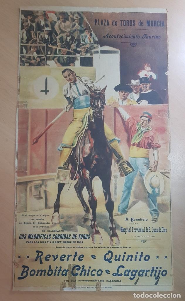 ANTIGUO CARTEL PLAZA DE TOROS MURCIA 1902 ILUSTRADO MARCELINO UNCETA (Coleccionismo - Carteles Gran Formato - Carteles Toros)