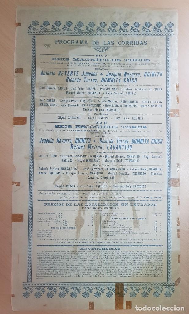 Carteles Toros: ANTIGUO CARTEL PLAZA DE TOROS MURCIA 1902 ILUSTRADO MARCELINO UNCETA - Foto 2 - 211753348